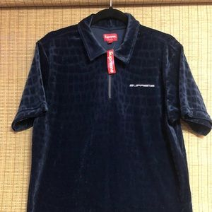 Supreme Croc Velour Zip Polo Navy